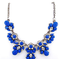 Crystal and Hematite Chain Floral Statement Necklace - Blue