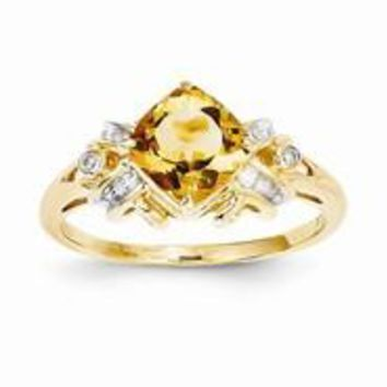 14k Yellow Gold Diamond and Citrine Square Ring