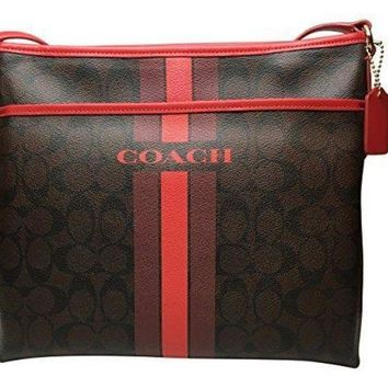 DCCK8X2 Coach Women's Varsity Stripe File Crossbody Bag In Signature, Style F38402