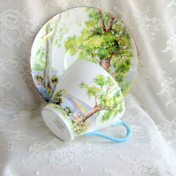 Vintage Shelley Teacup Tea-Cup Set Woodland Richmond Pattern