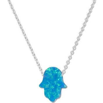 "Sterling Silver Adjustable 15""-17"" Synthetic Blue Opal Hand Of God Hamsa Necklace"