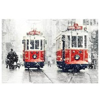 Wall decor - SALE Winter Photography, Tram photography, winter, snow photograph, istanbul, red tram, Art Print, 10x15, trains, christmas