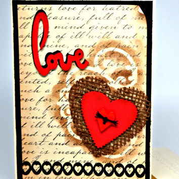 Rustic Love Card / Handmade Valentine Card / Burlap Heart and Love