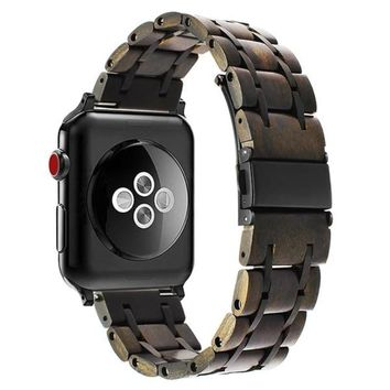 Natural Wood + Stainless Steel Watchband for Apple iWatch