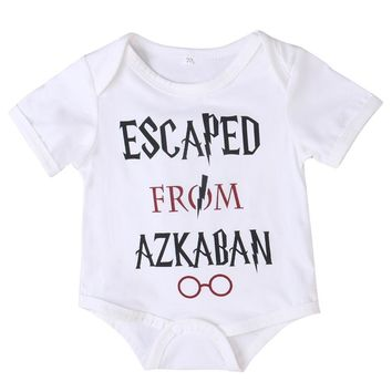 2017 HOT Newborn Infant Baby Boy Girl Letter Print Harry Potter Short Sleeve White Grow Romper Summer Jumpsuit Outfits Clothes
