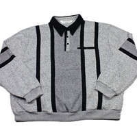 Vintage 90s Gray/Black 3 Button Pullover Sweater Mens Size XXXL