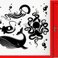 Wall Stickers Vinyl Decal Ocean Fish Whale Octopus Jellyfish Decor Unique Gift (z2372)
