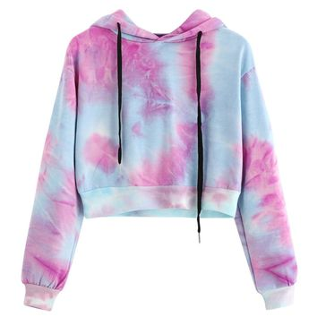 Women's Cropped Hoodie Fashion Printed Long Sleeve Short Hoodies Drawstring Sweatshirt Crop Tops Tolstovka #VE