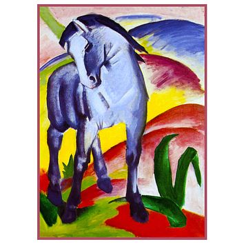Two Horses Under The Stars by Expressionist Artis Franz Marc Counted Cross Stitch Pattern