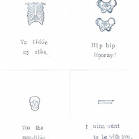Anatomy Postcards Set Of 4 Funny Halloween Creepy Skeleton Medical Science Humor Gothic Puns Black And White Horror Geekery Skull Bones