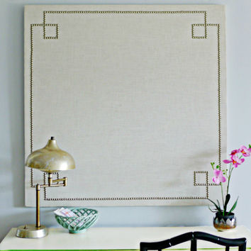 32 x 32 Custom Cork Board / Pin Board Wrapped in Linen Fabric