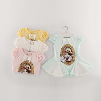 4 Colors Girls Baby Fashion Cat Dress With Lace Edge Baby Summer Girls Cotton Short Sleeve Lace Dress 5 pcs/lot Children's Dress