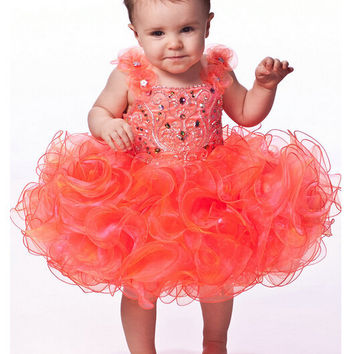 Free Shipping Orange Straps Flower Pageant Dresses Girls Glitz Ruffles Ball Gown Beaded First Communion Party Gowns Girls Dress
