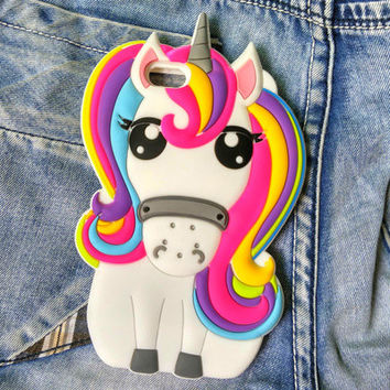 Hot Cute 3D Rainbow Unicorn Horse Animal Cartoon Soft Silicone Phone Cases Cover For iPhone 7 7Plus 4 4S 5S 5C SE 6G 6S Plus J5