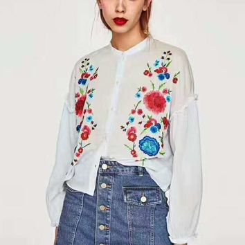 Zara Fashion Floral Embroider Long Sleeve Sexy T-Shirt G-JGYF-1