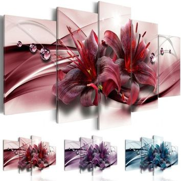 5pcs/set ( No Frame ) Abstract Flower Two Lily Canvas Art Print Modern Wall Painting Home Decoration Gift for Love