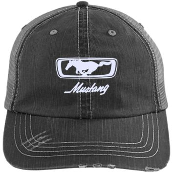 Mustang Emblem 6990 Distressed Unstructured Trucker Cap