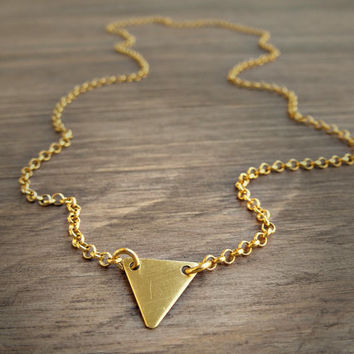 Gold triangle necklace- geometric jewelry- modern minimalist jewelry for everyday. Gift for her