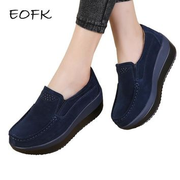 EOFK Women Flat Platform Loafers Ladies Elegant Suede Leather Moccasins Shoes Woman Sl