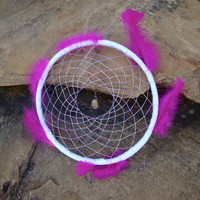 """Hot Pink Feathered 10"""" Dream Catcher Wall Decor"""