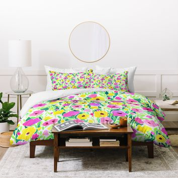 Jacqueline Maldonado Flower Field Pink Yellow Duvet Cover
