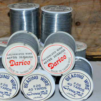 26 Gauge Silver Beading Wire. Darice and Crown Fox Brands. Flexible Wire. Vintage Craft Supplies. 40 Yards per Spool.