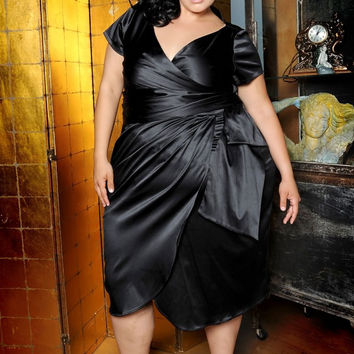 Pinup Couture Ava Dress in Black Shakira Satin