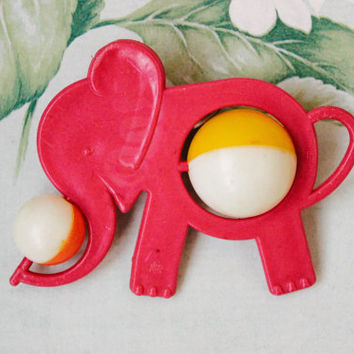 Soviet Elephant Rattle / Cute 1960's Vintage Infant Burgundy Red, Orange & Yellow Crib Toy / USSR Mid Century Kitsch Circus Animal Baby Toy