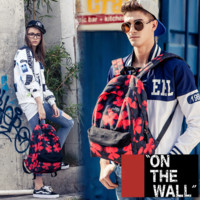 """Vans""Fashion Personality printing large capacity backpack bag leisure travel boom blue and red flowers(7 style)"