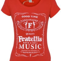 Ladies Label Distress T-Shirt (Red) | The Official Webstore for The Fratellis