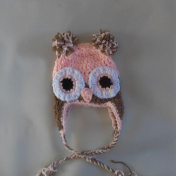 Crochet owl hat, great newborn owl photo prop, kids fun owl hat