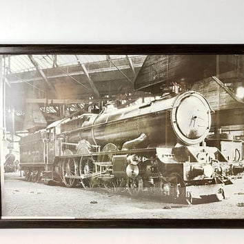 Vintage Reproduction 1927 Great Western Railway King Class Locomotive King Henry VIII Train Print London UK Framed Large 23x32 Train Decor
