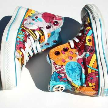 Peace Love High-Top Converse The Hippie Chick Converse All Star Sneakers