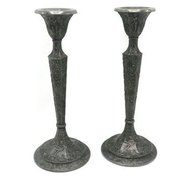 Antique Derby Silver Company Repousse Candle Holders