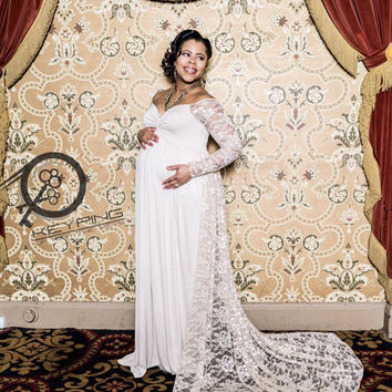 ELEGANT Lace Long/Short Sleeves Off Shoulder w Long Lace Chiffon Train/Soft Knit Jersey Maternity Shoot Dress/Baby Shower Gown/PLUS sizes