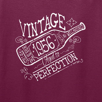 60th Birthday Gift For Men and Women Vintage 1956 Aged To Perfection A Great Year Born in the Fifties T-shirt Grandmother Grandfather W-1956