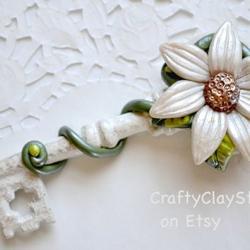 Flower Decor - Key Decor - Bridesmaid Gift - Wedding Gift - OOAK GIft - Polymer Clay Flower - Polymer Clay Decor - Spring Decor - OOAK Key