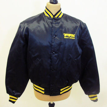 Vintage 1980s Black Yellow College Preppy Racing Sport Bomber Jacket L