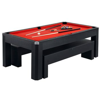 Hathaway Park Avenue 7-ft. Pool Table & Bench Combo Set (Black)
