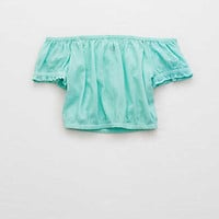 Aerie Vacay Crop Top, Alpha Turquoise