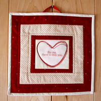 """Quilted Mug Rug, Mini Wallhanging """"For Your Valentine"""" Quiltsy Handmade, Placemat, Snack Mat, Mini Quilt"""