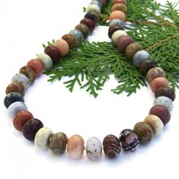 Elegant Mixed Gemstone Necklace, Handmade Agate Jasper Sterling Summer Autumn Jewelry