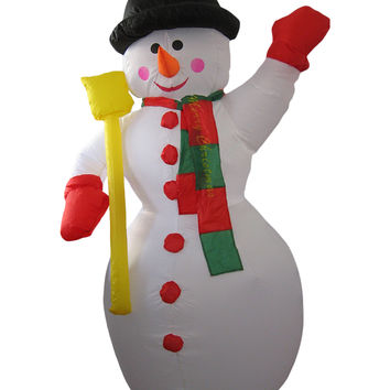 Transcontinental Snowtime Illuminated Inflatable Snowman With Merry Christmas Sign