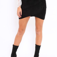 BLACK SUEDETTE BODYCON SKIRT - CARRIN