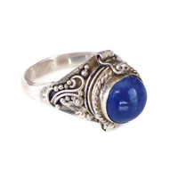Sterling Silver, Poison Ring, Lapis Ring, Middle Eastern, East Indian, Vintage Jewelry