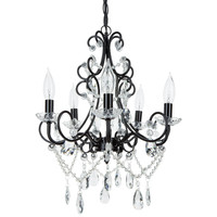Theresa Classic Crystal Plug-In Chandelier | 5 Lights | Black