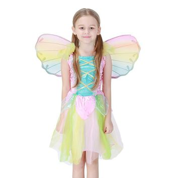 Girls Kids Summer Sleeveless Dress Funny Angel Tinkerbell Costume Ideas Butterfly Wing Halloween Party DIY Suit For Baby Girls