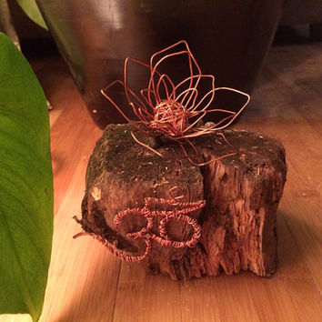 Recyled Wood & Wire Sculpture: Copper Wire Ohm with Lotus Flower