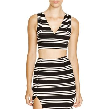 Olivaceous Womens Striped V-Neck Crop Top