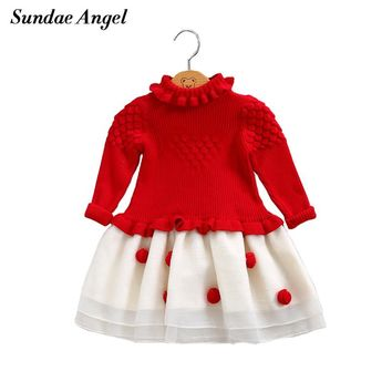 Sundae Angel Girls christmas sweater Winter Tuin down Collar Long Sleeve Kids Baby Knit Girl Dress for children 9M-4Y Clothes
